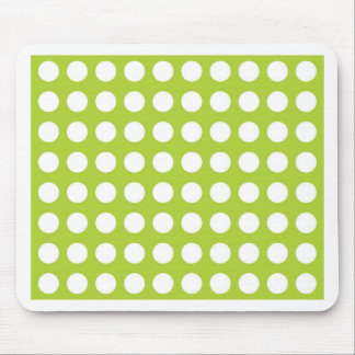 White Spots and Dots on Lime Green Mouse Pad