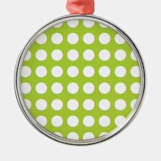 White Spots and Dots on Lime Green Silver-Colored Round Decoration