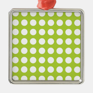 White Spots and Dots on Lime Green Silver-Colored Square Decoration