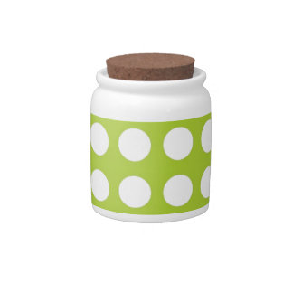 White Spots and Dots on Lime Green Candy Dishes