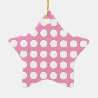 White Spots and Dots on Pink Ceramic Star Decoration