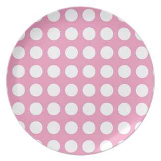 White Spots and Dots on Pink Party Plate
