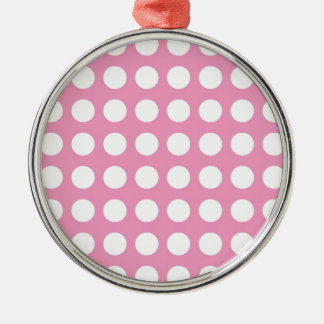 White Spots and Dots on Pink Silver-Colored Round Decoration