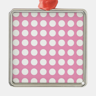 White Spots and Dots on Pink Silver-Colored Square Decoration