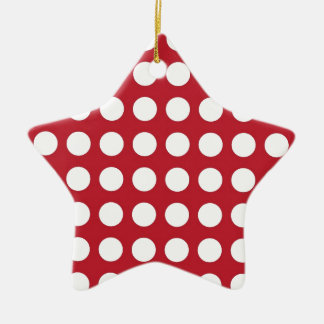White Spots On Dark Red Christmas Ornament