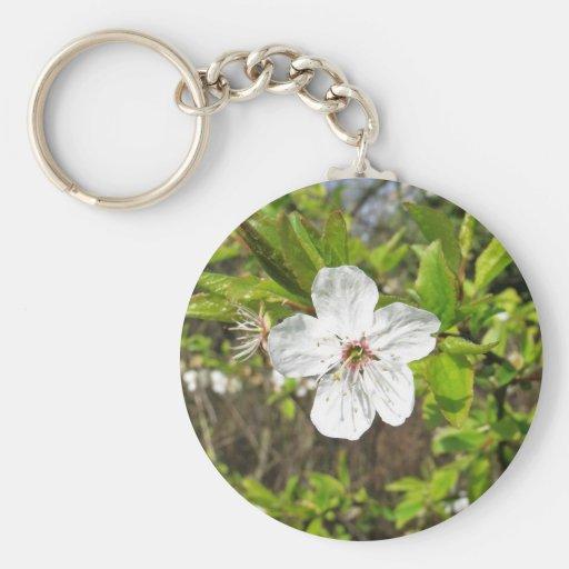 White Spring Blossom Keychain