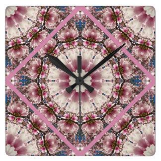 White spring blossoms 2.0, mandala style clocks
