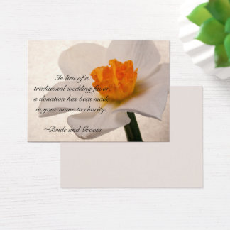 White Spring Daffodil Wedding Charity Card