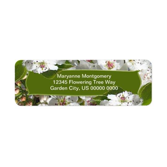 White Spring Tree Blossoms Return Address Label