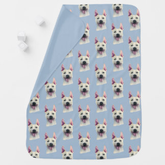 White Staffordshire Bull Terrier Dog Watercolor Buggy Blanket