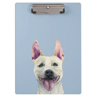 White Staffordshire Bull Terrier Dog Watercolor Clipboard