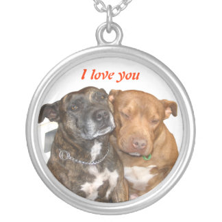 White Staffy I Love You Round Pendant Necklace