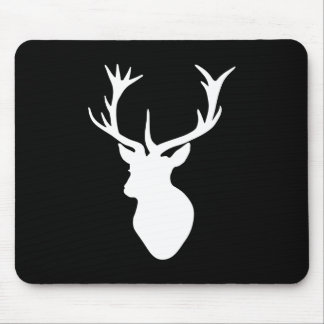 White Stag Head Mouse Pads