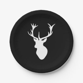 White Stag Head Paper Plate