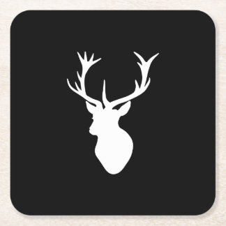 White Stag Head Square Paper Coaster