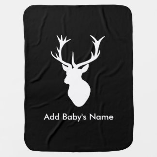 White Stag Head with Antlers Baby Blanket