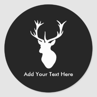 White Stag Head with Antlers Classic Round Sticker