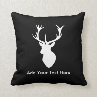 White Stag Head with Antlers Cushion