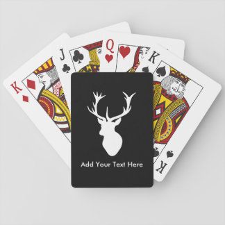 White Stag Head with Antlers Playing Cards