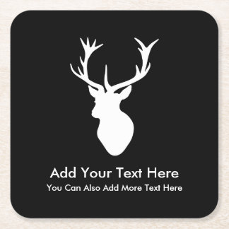 White Stag Head with Antlers Square Paper Coaster
