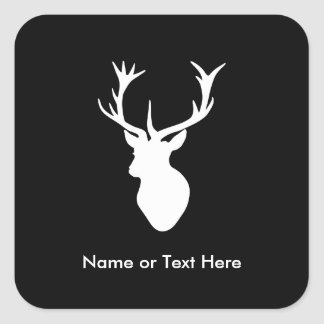 White Stag Head with Antlers Square Sticker
