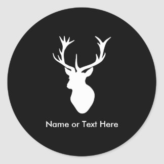 White Stag Head with Antlers Stickers