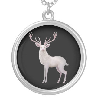 White Stag Round Pendant Necklace
