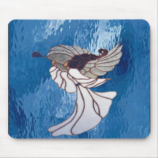 White Stained Glass Angel on Blue Mousepads