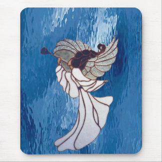 White Stained Glass Angel on Blue Mouse Pad