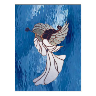 White Stained Glass Angel on Blue Postcard