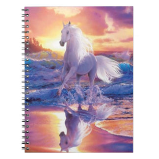 White Stallion Spiral Notebook