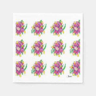 White Standard Cocktail Paper Napkins Asiatic Lily