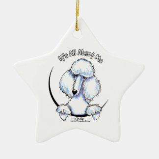 White Standard Poodle IAAM Ceramic Star Decoration