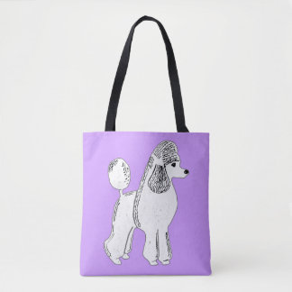 White Standard Poodle Lilac Tote Bag