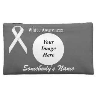 White Standard Ribbon Template Cosmetic Bags