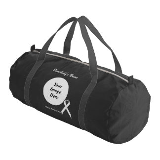 White Standard Ribbon Template Gym Duffel Bag