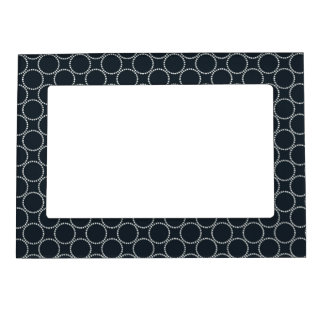 White Star Circles Retro Pattern on Dark Blue Photo Frame Magnets