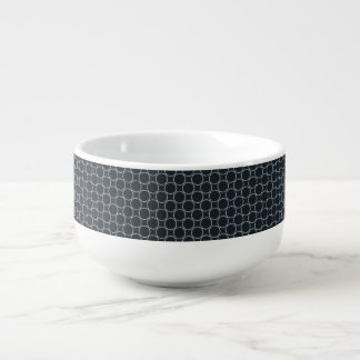 White Star Circles Retro Pattern on Dark Blue Soup Mug
