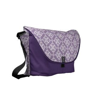 White Star Damask on East Side Violet Courier Bag