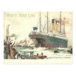 White Star Line R.M.S. Cedric leaves Liverpool Postcards