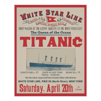 WHITE STAR LINE Titanic Posters