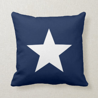 White Star on Navy Blue Throw Pillow