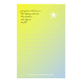 White Star on Yellow Paper Stationery Paper