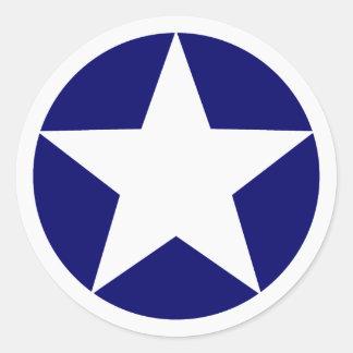 White Star Round Sticker