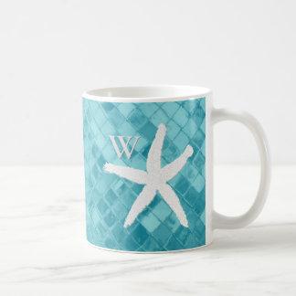 White Starfish Aqua Sea Glass Monogram Coffee Mug