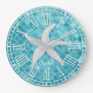 White Starfish Aqua Sea Glass Personailize Large Clock