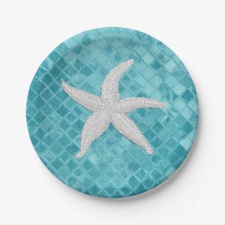 White Starfish Aqua Sea Glass Personailize Paper Plate