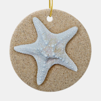 White Starfish at the Beach Christmas Ornament