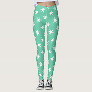 White Starfish on Sea Foam Green Leggings