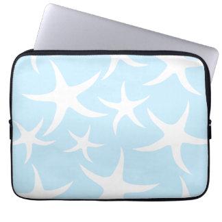White Starfish Pattern on Light Blue. Laptop Sleeve